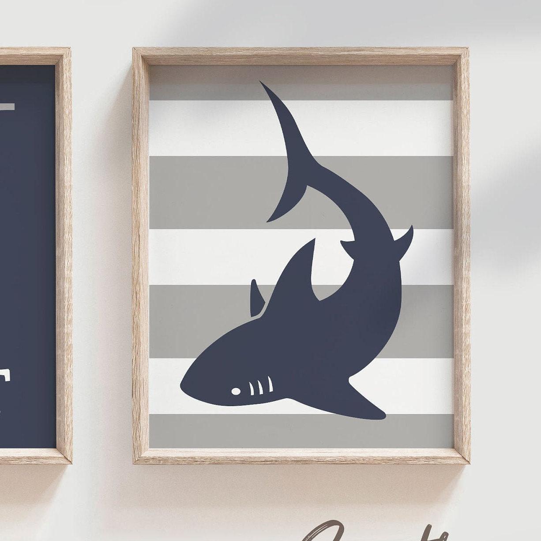 shark nursery art boys shark nursery decor personalized