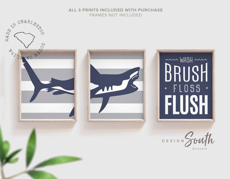 Shark Bathroom Decor Boys Shark Bathroom Boys Bathroom Wall Art Idea Shark Gift For Boy Shark Theme Bathroom Wash Brush Floss Navy Gray
