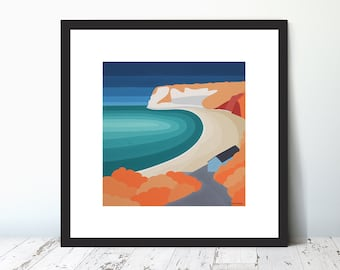 NEW! Whitecliff Bay, Bembridge, Limited Edition Giclee Art Print by Suzanne Whitmarsh. High quality complete with mount. Isle of Wight.