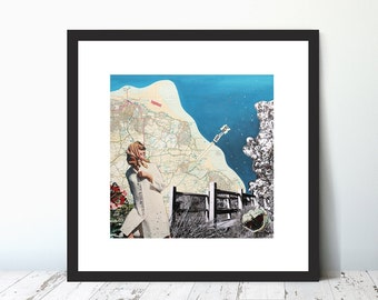 HAPPY DUVER DAY,  Limited Edition Giclee Collage Print by Suzanne Whitmarsh. Walking. Type. Lady. Photo. Isle of Wight. Map. Vintage. Retro.