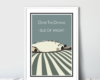 OVER THE DOWNS (green) Isle of Wight. Graphic design travel poster. High quality print.  Posters for the home. Stripe retro vintage designs.
