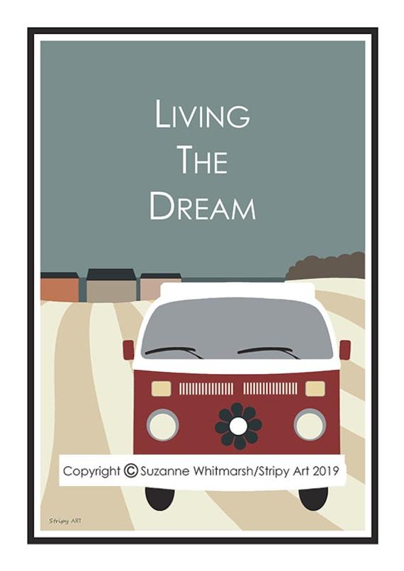 Large A2 MOD CAMPER VAN travel poster VINTAGE STYLE WORD ART Stripy Art Print.