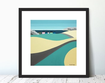 WALK DOWN DUVER,  Limited Edition Giclee Prints by Suzanne Whitmarsh. Isle of Wight. Seaside, abstract art,beach huts, seascsape,harbour