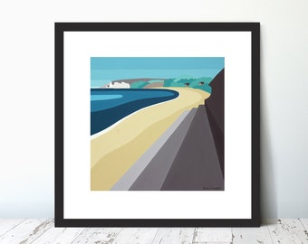 FUN BREAK, FORELANDS,  Limited Edition Giclee Prints by Suzanne Whitmarsh. Isle of Wight. Seaside, abstract art, breakwater, huts, seascsape