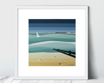 TOTLAND BAY, West Wight, Limited Edition Giclee Art Print by Suzanne Whitmarsh. High quality complete with mount. Isle of Wight.