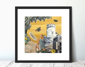 ALONG APPLEY TOWER,  Limited Edition Giclee Collage Print by Suzanne Whitmarsh. All along the watch tower. Lady. Photo. Map. Vintage. Retro.
