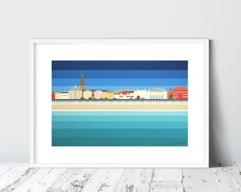 WEYMOUTH & WHITE HUTS Limited Edition Giclee Prints by artist Suzanne Whitmarsh. Stripy art abstract art, jurassic coast dorset art prints.