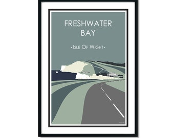 FRESHWATER BAY (military road) Green. Isle of Wight. Travel poster. High quality print. Coastal posters for the home. Stripe retro designs.