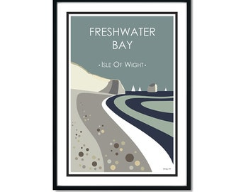 FRESHWATER BAY BEACH, Isle of Wight. Graphic design travel poster. High quality print. Coastal posters for the home. Stripe retro designs.