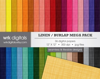 Linen Burlap Mega Pack Seamless Digital Paper Pack, Digital Scrapbooking, Instant Download, Texture, Background