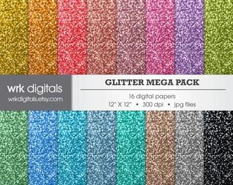 Glitter Mega Pack Digital Paper Pack, Digital Scrapbooking, Instant Download