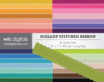 Scallop Ribbon Clip Art Digital Pack, Stitched Ribbon, Textured Ribbon, Digital Scrapbooking, Instant Download