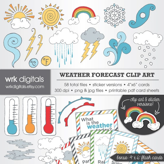 photograph regarding Printable Weather Reports identified as Temperature Predict Clip Artwork Electronic Pack, Electronic Sbooking, Quick Down load