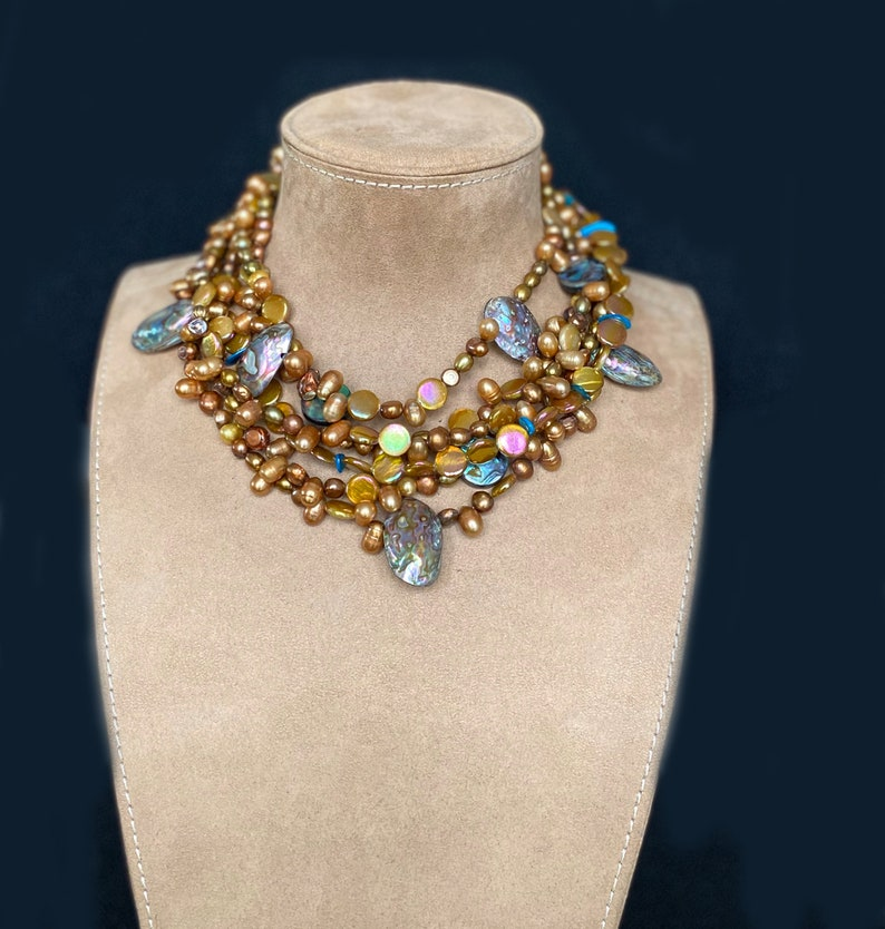 handmade bead brown Necklace Statement beaded brown pearl necklace pearl golden brown chunky necklace multi strand bib brown necklace