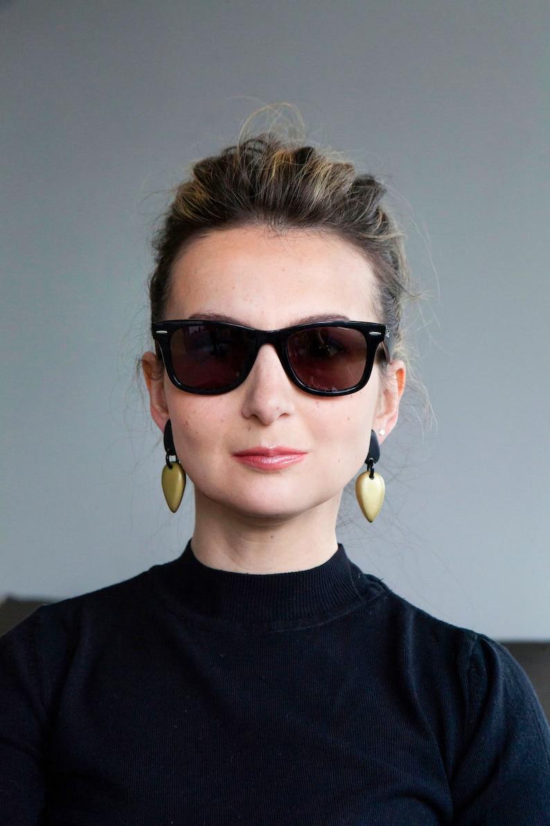 stud earrings statement earrings Black and gold earrings lightweight earrings dangle earrings