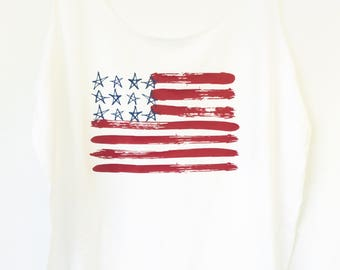 4th of July Womens Plus Size Tank Top | American Flag Plus Size | Memorial Day Plus Size Shirt | Red White Blue Plus Size Tank Top |