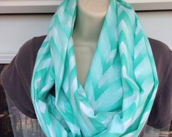 Mint and White Chevron Infinity Scarf