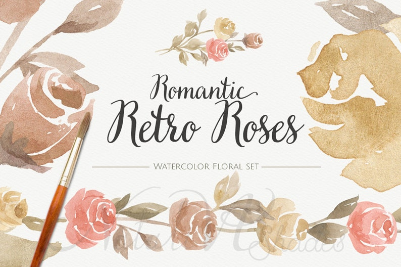 Digital Clipart Romantic Retro Roses Hand painted Watercolor Floral set