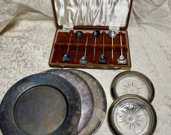 Steeds Lustron Jewel Box Floret Copper Bronze Plastic Coaster Set 1940s 1950s