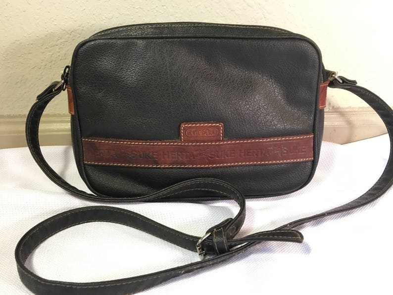 2fe69b4b37145 Vintage Herta Suke Genuine Leather Two Tone Crossbody Shoulder