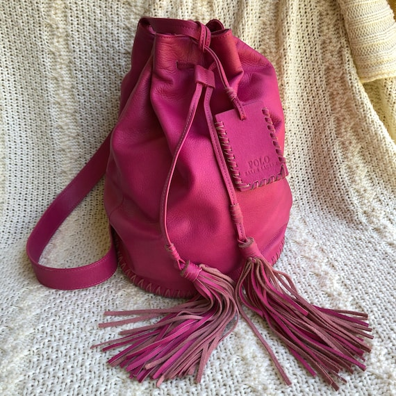 11bd57c2dc8 Vintage Polo Ralph Lauren Soft Fuschia Pink Sling Bag Backpack   Etsy