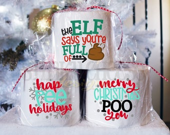 BUY 5, get the 6TH FREE! Christmas Toilet Paper Gift - Gag Gift - Secret Santa - White Elephant - Funny Christmas Gift