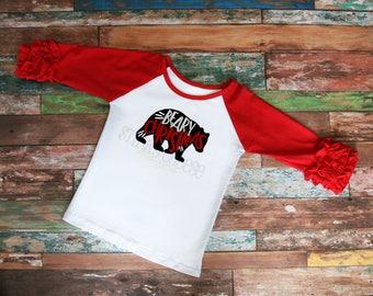 Beary Christmas Youth Ruffle Raglan - Girls Shirt - Kid's Raglan