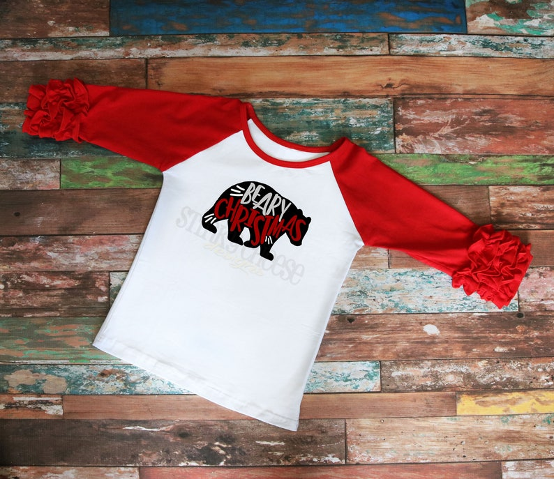Beary Christmas Youth Ruffle Raglan  Girls Shirt  Kid's image 0