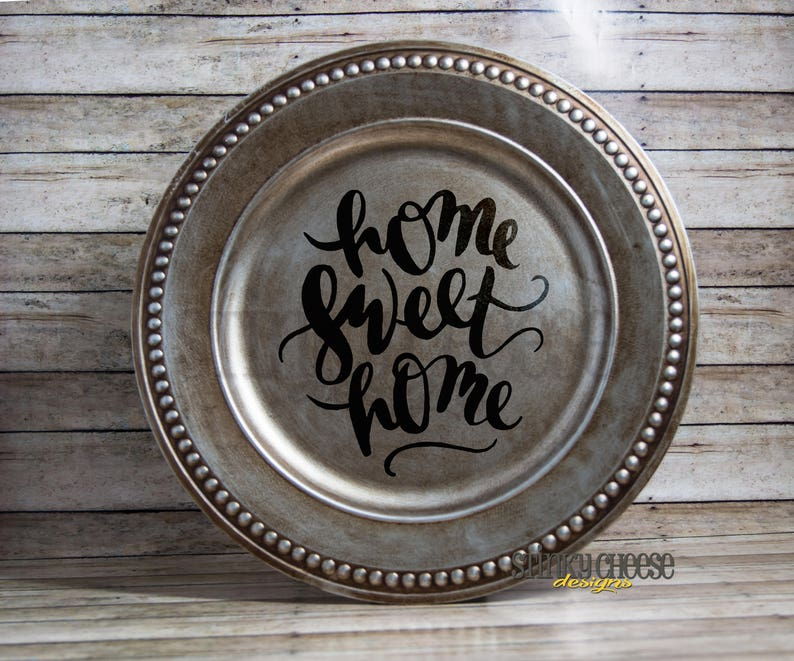 Home Sweet Home Decorative Plate  Charger Plate  Home Decor image 0