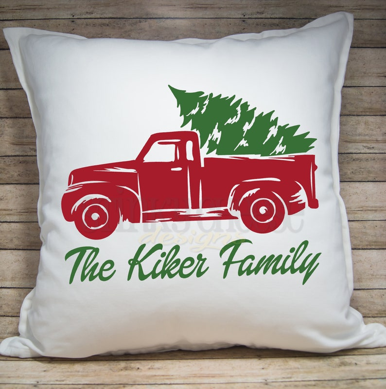 PERSONALIZED Little Red Truck Christmas Pillow Cover  image 0