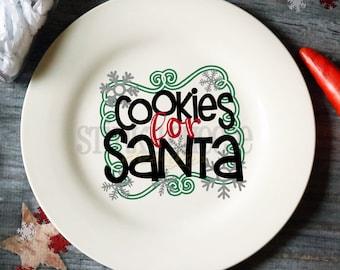 Cookies For Santa Plate - Cookie Plate - Santa Claus - Ceramic Plate