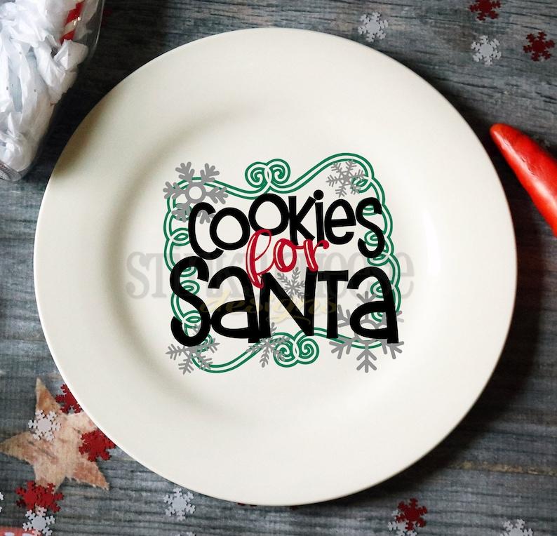 Cookies For Santa Plate  Cookie Plate  Santa Claus  Ceramic image 0