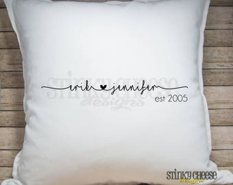 Personalized Couples Pillow Cover - Established Date - Throw Pillow - Home Decor - 20x20 Pillow Cover
