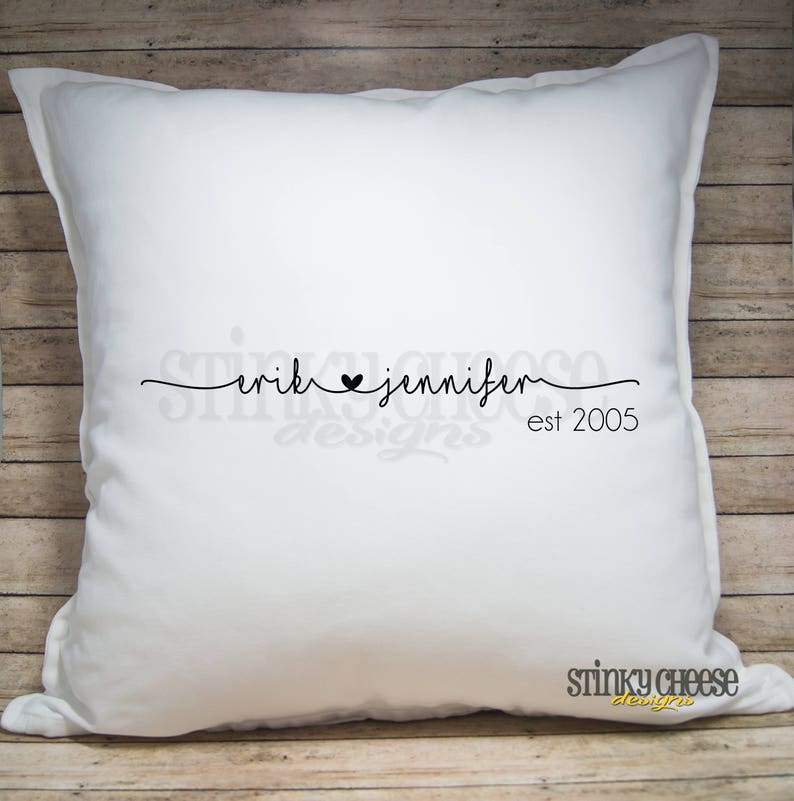 Personalized Couples Pillow Cover  Established Date  Throw image 0