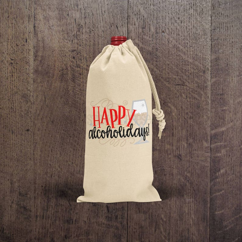 Happy Alchoholidays  Wine Bag  Gift Bag  Hostess Gift  image 0