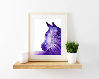 Horse galaxy inspired watercolor paintings, Horse artwork prints, Illustration of farm animal, Print of fine artwork, Colorful giclee prints