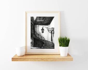 Beautiful stairway crosshatch print, Black & white Micro Pen Illustrations, Crosshatch Illustration prints, Calming artwork, Architecture