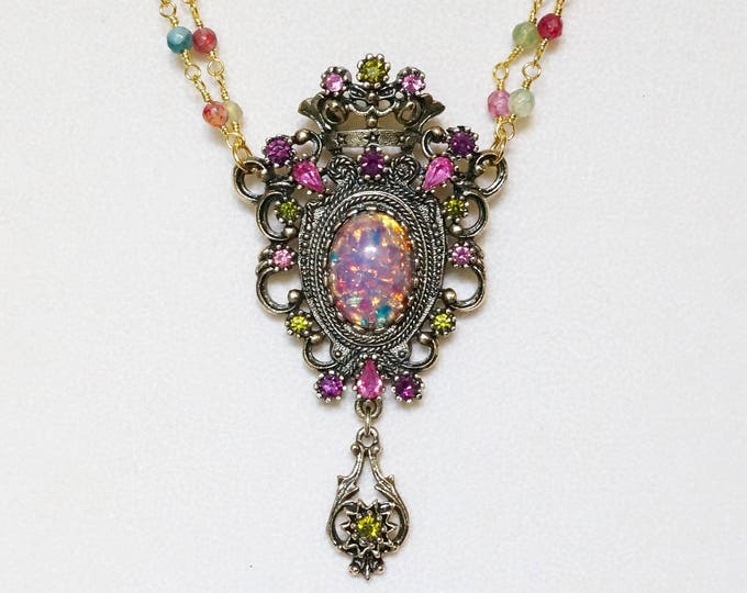 Free Shipping! Repurposed Vintage Brooch Necklace with Multicolor Rosary Gold Plated Chain