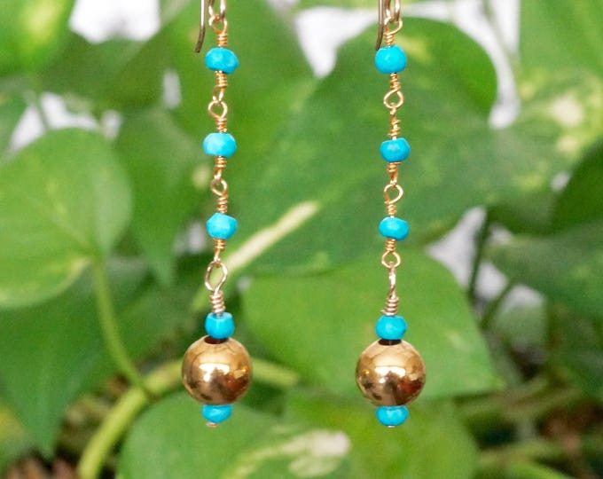 Free Shipping! Genuine Turquoise and Gold Drop Earrings