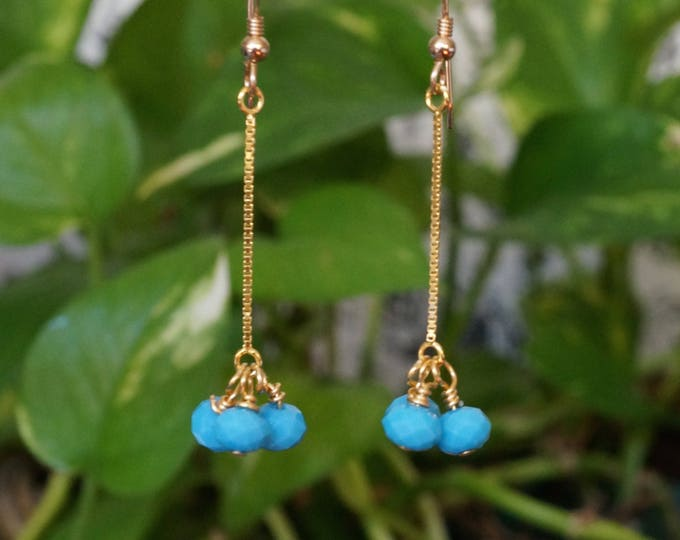 Free Shipping! Gold Filled Drop Earrings with Turquoise Glass Beads