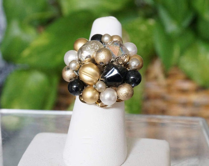 Free Shipping! Adjustable Ring with Repurposed Vintage Cluster Earring in Black and Gold