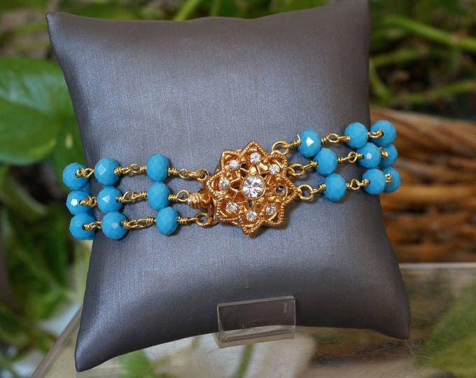 Free Shipping! Turquoise Glass Triple Strand Bracelet with Gold Plated Clasp