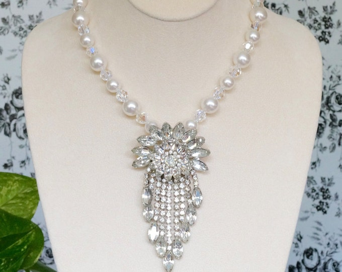 Free Shipping! Art Deco Style Bridal Necklace Made with Repurposed Vintage Brooch and White Swarovski Pearls and Crystals- Magnetic Clasp