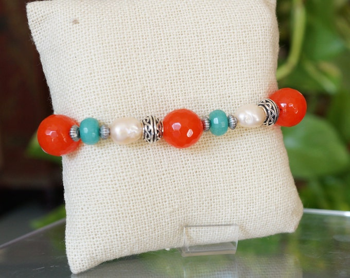 Free Shipping! Freshwater pearl, Amazonite and Orange Quartz Toggle Bracelet