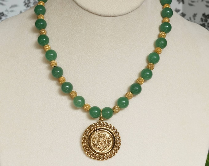 Free Shipping! Repurposed Vintage Brooch Necklace with Green Quartz