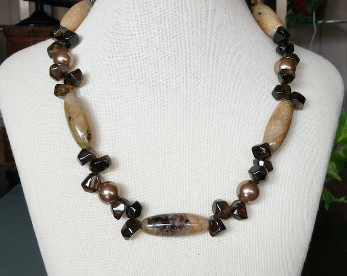 Free Shipping! 22 Inch NECKLACE in Crackled Agate Tube Beads- Smokey Quartz Nuggets and Shell Pearls