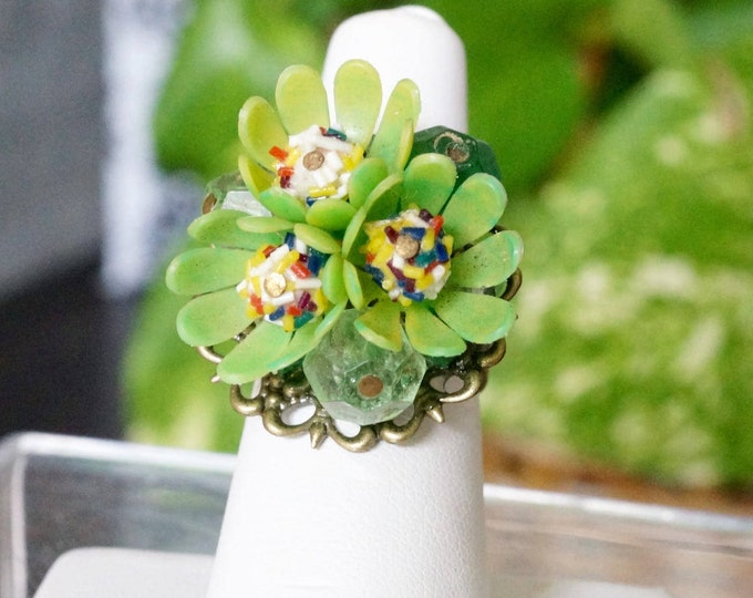 Free Shipping! Adjustable Ring made with Repurposed Floral Earring