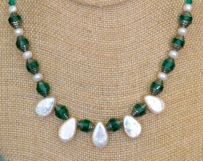 Free Shipping! Teardrop Freshwater Pearls and Czech Art Deco Bead Necklace