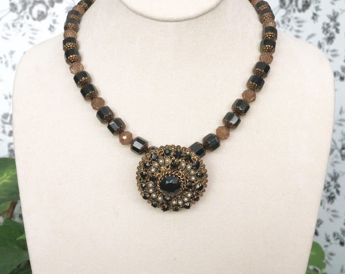 Free Shipping! Repurposed Vintage Brooch Necklace in Black and Bronze Czech beads