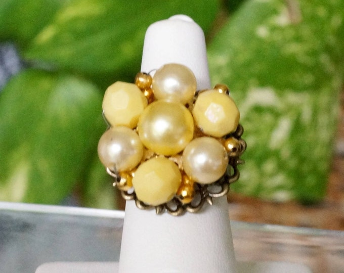 Free Shipping! Handmade Adjustable Ring Made with a Repurposed Vintage Yellow Earring